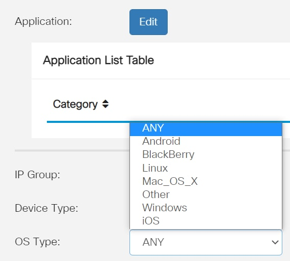 From the OS Type drop-down list, choose an Operating System (OS) to which the policy should be applicable. Only one option can be chosen at a time.