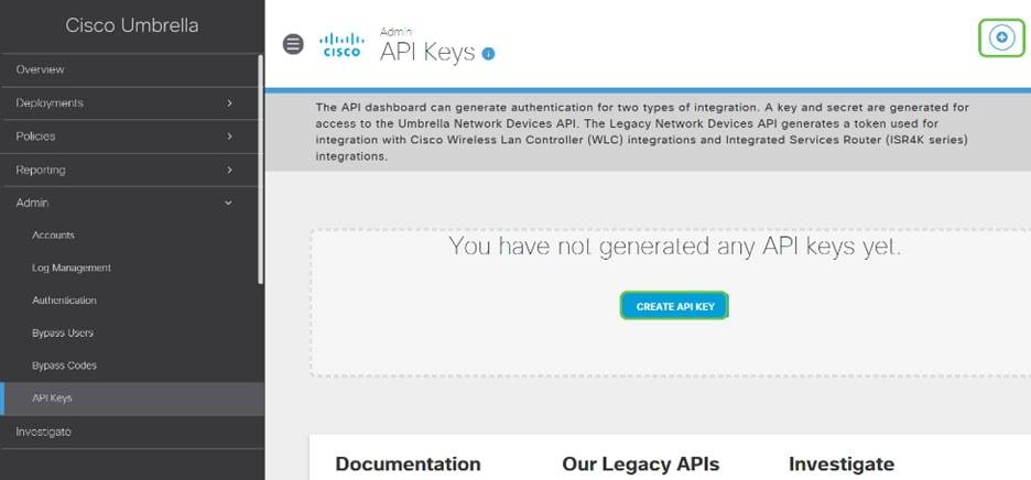 Click on the Add API Key button in the upper-right hand corner or click the Create API Key button. They both function the same.