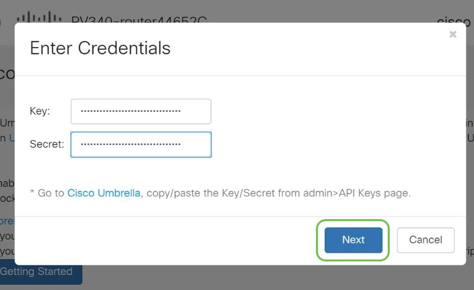After entering your API and Secret Key click the Next button.