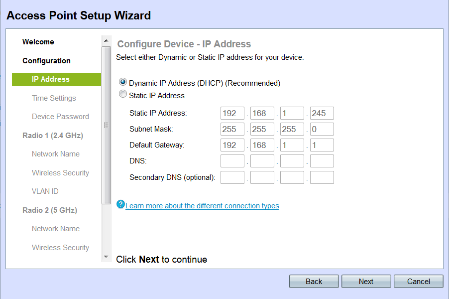 Setup Wizard Configuration on the WAP131 Access Point - Cisco