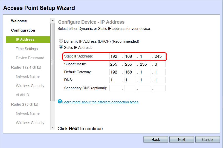 Setup Wizard Configuration on the WAP131 Access Point - Cisco
