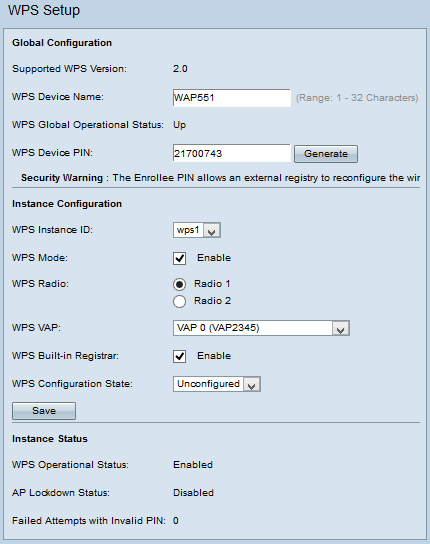 Configuration of Wi-Fi Protected Setup (WPS) on WAP551 and