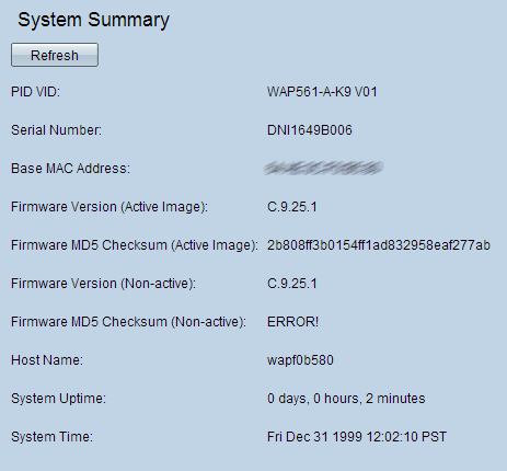 System Summary and Network Statistics Status on the WAP551 and
