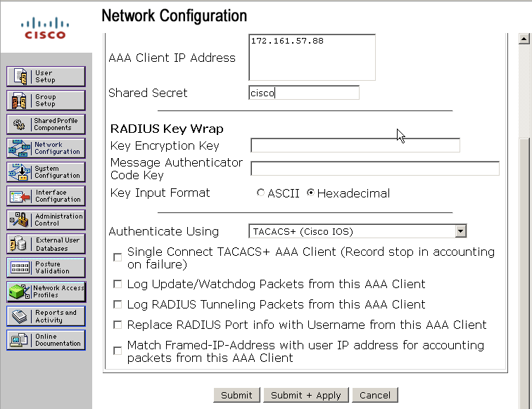 AAA authentication with TACACS+ in PXM45/MGX using Cisco ACS - Cisco