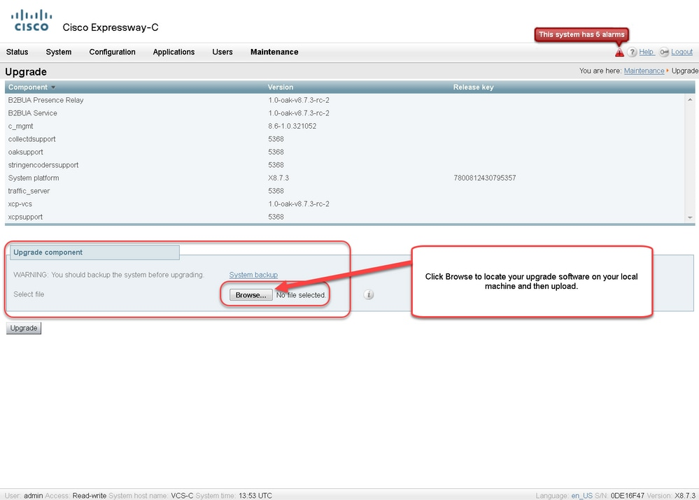 Install a Cisco Expressway Series Release Key via the Web