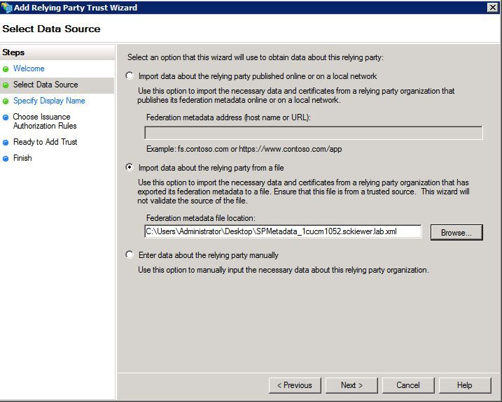 Configure Single Sign-On using CUCM and AD FS 2 0 (Windows Server