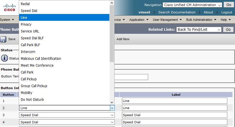 Configure Phone Button Template in CUCM - Cisco