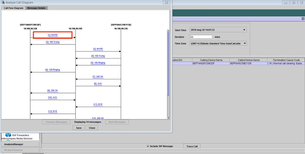 Procedure To Analyse Call Flow Of Sip Calls On Rtmt Cisco
