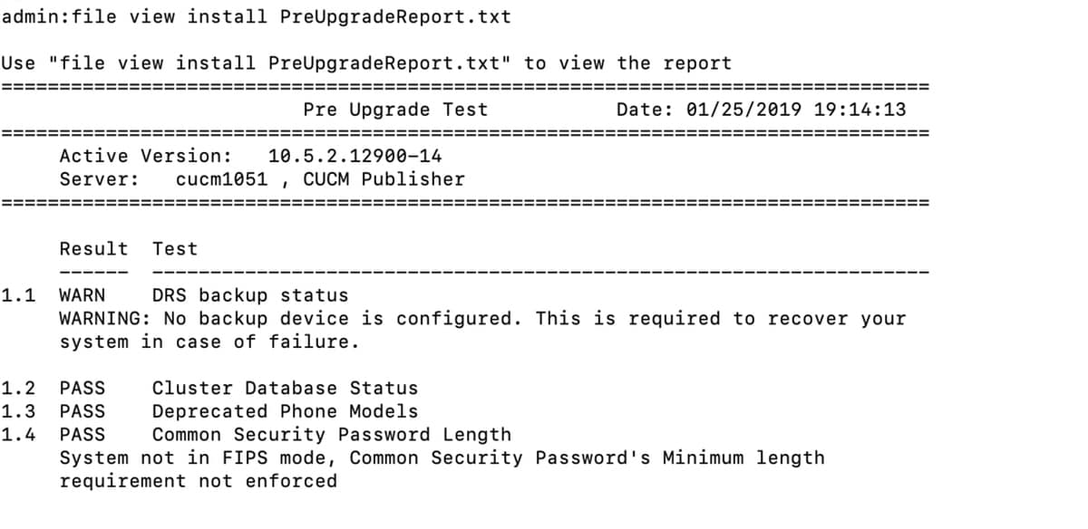 Upgrade Readiness Checks COP file for CUCM and IMPS - Cisco