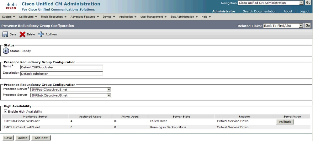 IM and Presence Server High Availability - Cisco