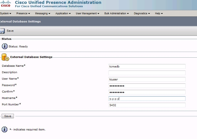 Cisco Unified Presence Server PostgreSQL External Database and