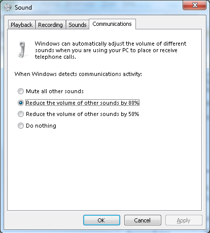 Jabber for Windows Decreases the Volume on a Windows 7 PC