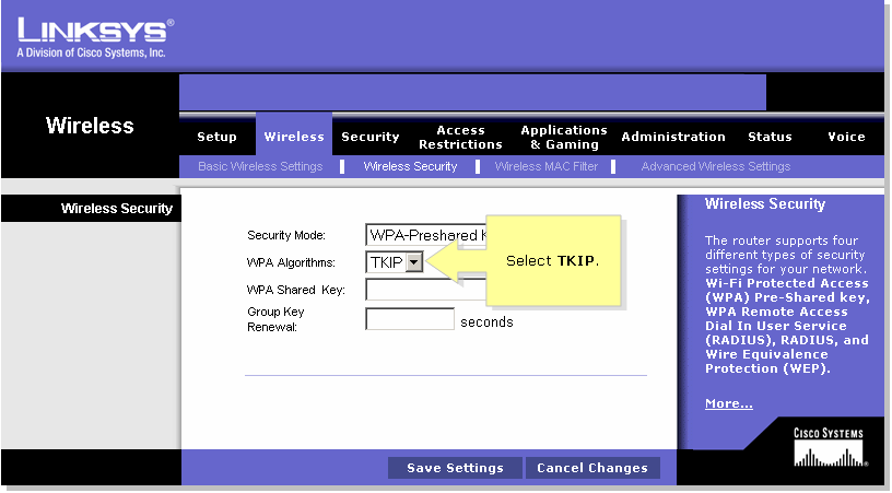 set up wpa wireless security on a cisco small business voip router step 5