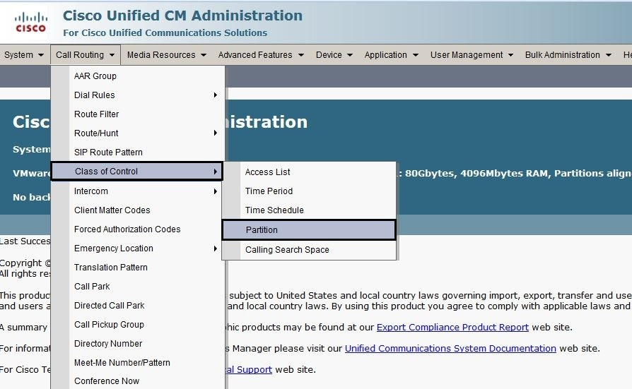 Configure Partition and Calling Search Space - Cisco