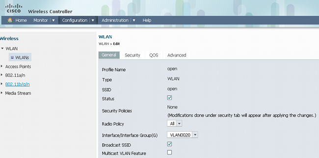 WPA2-PSK and Open Authentication with Cisco 5760 WLC