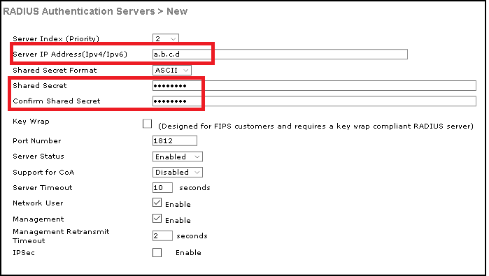 Step 2 Enter The RADIUS Server Information As Shown In Image