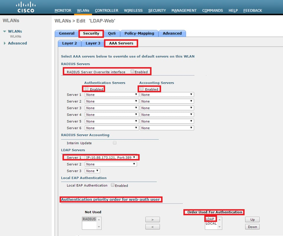 Configure WLC With LDAP Authentication For 802.1x And Web