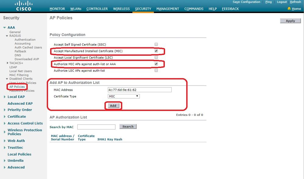 Access Point Authorization in a Cisco Unified Wireless