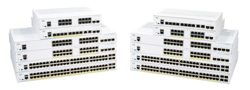 Family portrait of Cisco Business 350 Series Managed Switches product line