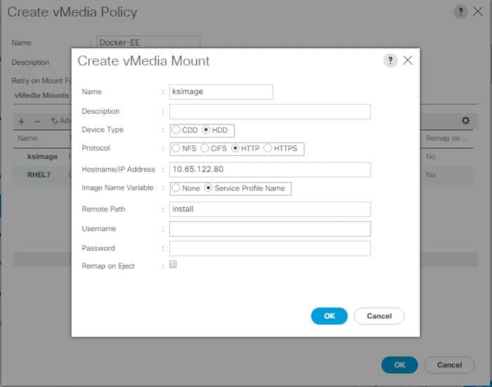 11 click ok to continue finishing vmedia policy creation