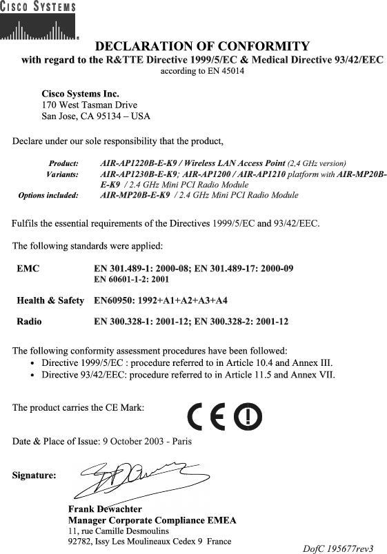 Cisco aironet 1200 series access point hardware installation guide declaration of conformity statements for european union countries altavistaventures Choice Image
