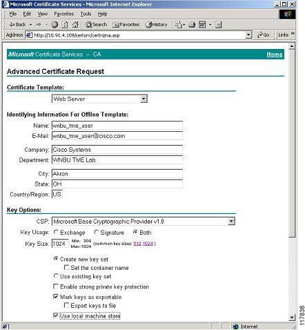 Protected eap peap application note protected eap peap figure 54 microsoft certification authority advanced certificate request detail yadclub Image collections
