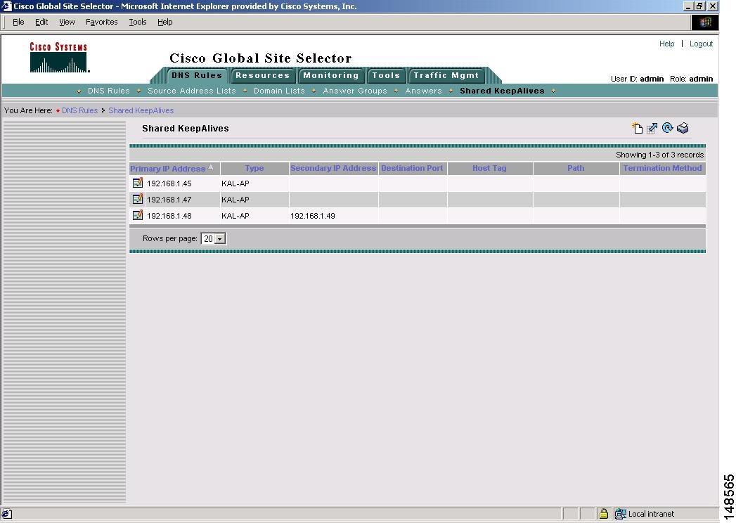 Cisco Global Site Selector GUI-Based グローバル サーバ ロード バランシング コンフィギュレーション ガイド Software Version 2.0 - キープアライブの設定 [Cisco ACE GSS 4400 シリーズ グローバル サイト セレクタ アプライアンス] - CiscoCisco.com Japan検索ログインログアウト言語の選択