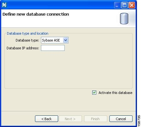 Define new database connection screen