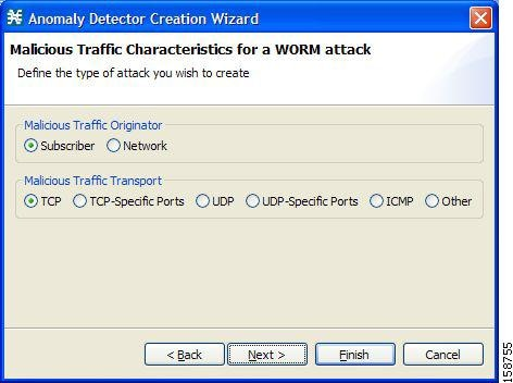 Malicious Traffic Characteristics for a WORM attack screen of the Anomaly Detector Creation Wizard