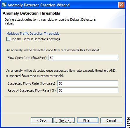 Anomaly Detection Thresholds screen of the Anomaly Detector Creation Wizard