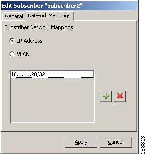 Edit Subscriber dialog box - Network Mappings tab