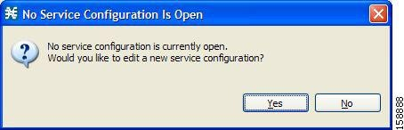 No Service Configuration Is Open dialog box