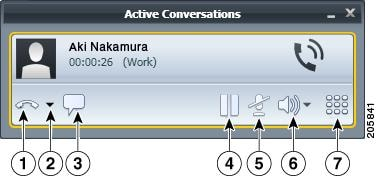 Shows the active conversations window with callouts from the 			 buttons.