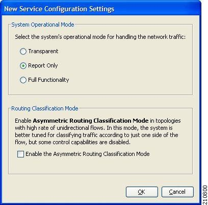 New Service Configuration Settings dialog box