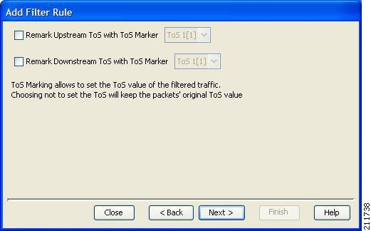 ToS Marker screen of the Add Filter Rule wizard