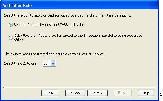 Action and Class-of-Service screen of the Add Filter Rule wizard