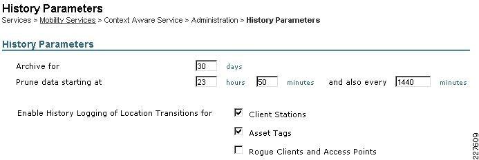 context aware service parametershistory