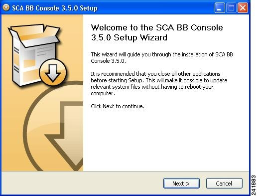 Welcome view of the SCA BB Console 3.1.0 Setup Wizard