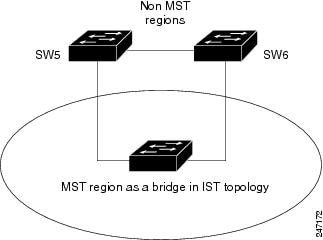 Logical Topology in MST Region Interacting with Non-MST Bridges