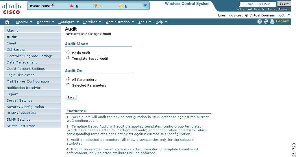 Cisco Wireless Control System Configuration Guide Release 70 – Audited Accounts Template