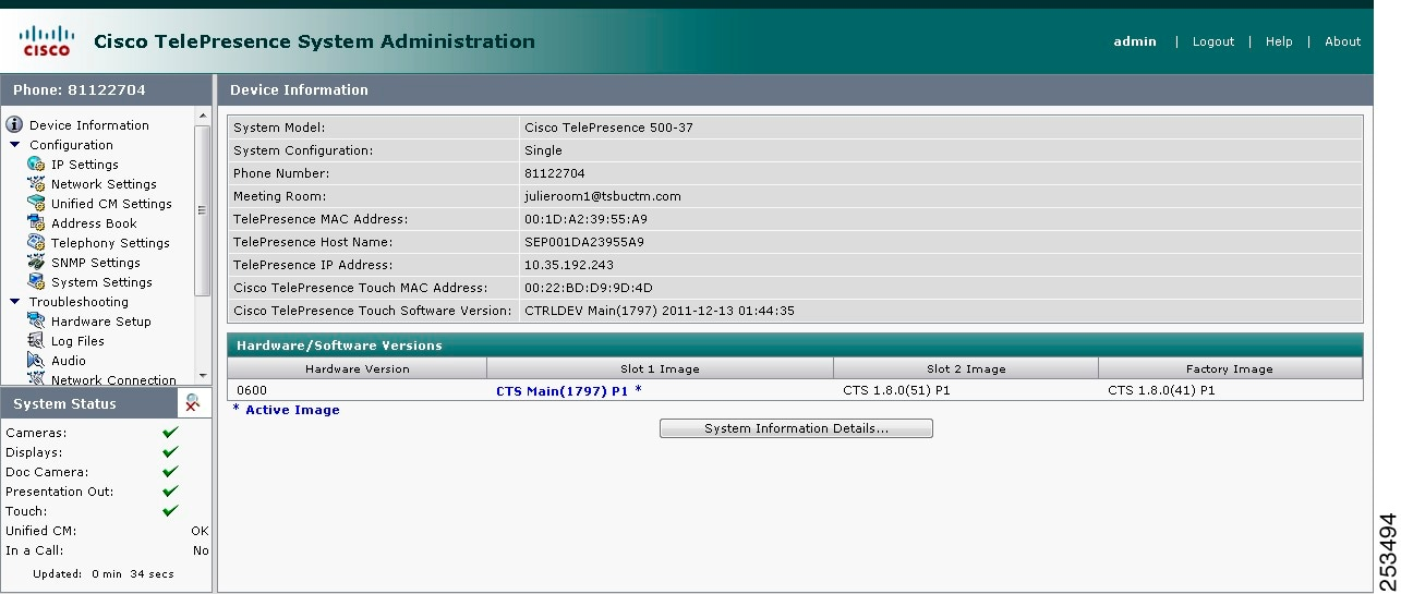 Cisco TelePresence System Administration Guide - Configuring