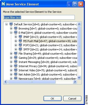 Move Service Element dialog box