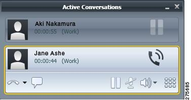 Shows the active conversations window with two active calls.