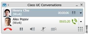 Shows the conversations window with two calls.