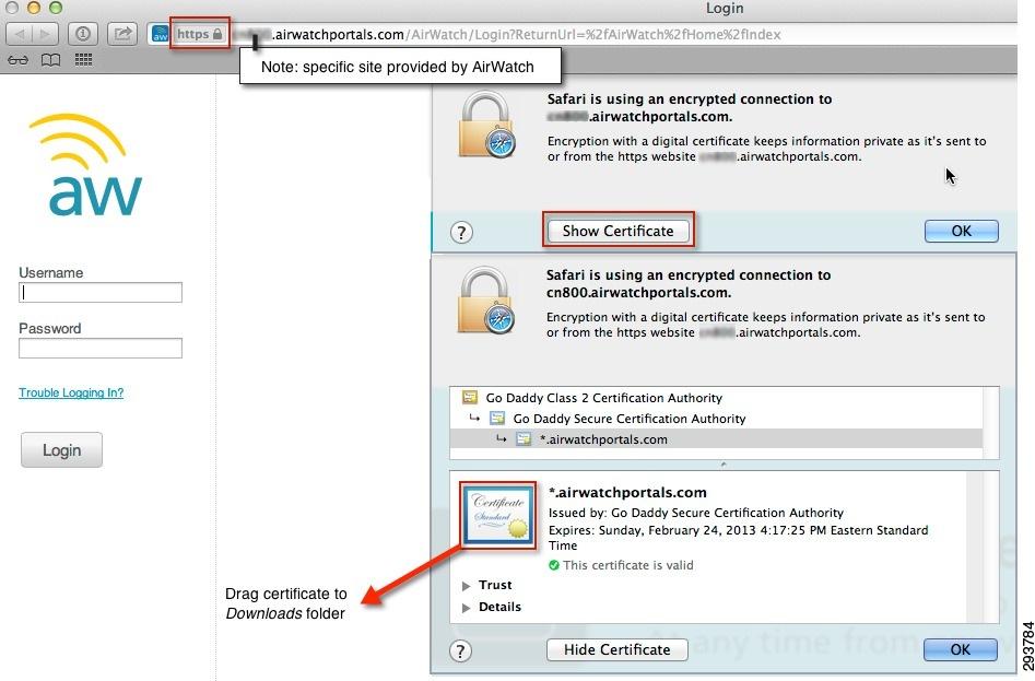 airwatch certificate cisco integrating identity engine services wildcard utilizes belonging valid websites portal domain