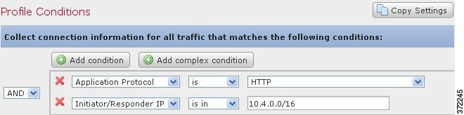 Screenshot of traffic profile collecting data for hosts with an IP address in the 10.4.x.x subnet