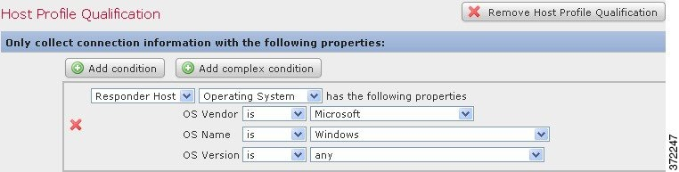 Screenshot of a host profile qualification configured to search for hosts running Microsoft Windows