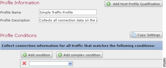 Screenshot of a simple traffic profile with no conditions