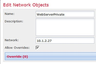 Network object defining private address.
