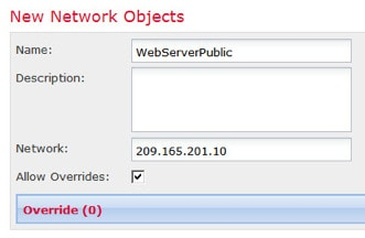 Network object defining public address.
